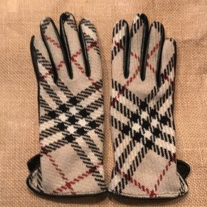 Burberry leather & plaid wool gloves